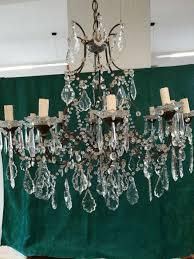 bohemian crystal 12 light chandelier early 1900s