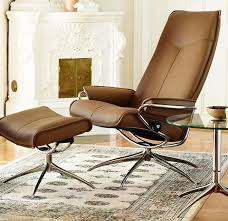 stressless city high back recliner chair and ottoman