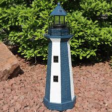 sunnydaze solar striped led lighthouse outdoor decor 36 inch tall