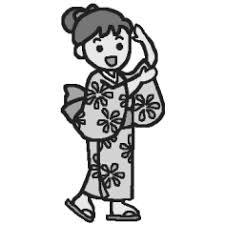 浴衣モノクロ夏祭り盆踊りの無料イラストミニカットクリップ