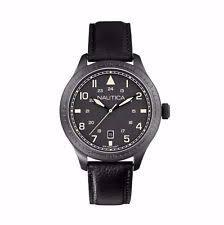 nautica watch nautica a11107g bfd 105 men s genuine black leather strap quartz watch