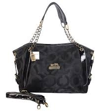 Coach Chain Logo In Monogram Medium Black Totes BOH