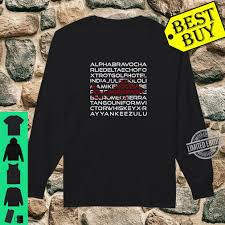 The alphabet is used by pilots and air traffic control when they are talking over the radio to ensure that voice communications are understandable. Aviation Phonetic Alphabet Pilot Helicopter Cadet Shirt