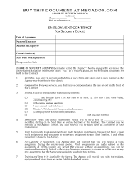 Free Employment Contract Templates Security Service Contract Selo L Ink Co With Security Service