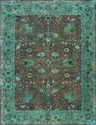 rugsville overdyed brown light green rug 12228 12228