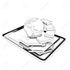 stock photo tablet pc and earth with real books pencil drawing