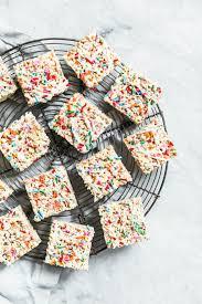 Rice Crispy Treats Designs White Chocolate Funfetti Rice Krispie Treats Broma Bakery