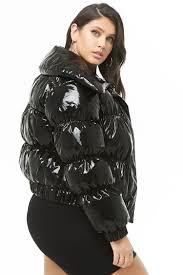plus size faux patent leather puffer jacket
