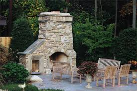outdoor rock fireplace designs