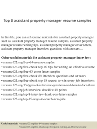 Cover Letter For Assistant Property Manager Top 8 Assistant Property Manager Resume Samples