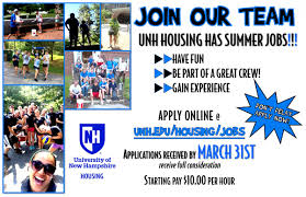 summer jobs housing residential life summer job poster