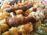 baked summer sausage  potatoes   sauerkraut