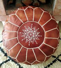 2 set handmade brown poufs moroccan leather pouf ottoman footstool for