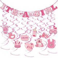 Its A Girl Banners Dangling Swirl For Baby Girl Birthday
