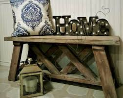 Farmhouse Entry Bench  Rustic Entryway Bench - X Bench, Distressed  Reclaimed, Indoor Outdoor