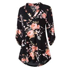 Shirt Design Flower T Shirts Women 2018 Summer Long Sleeve Floral Printed Roll Up Top Black Casual Button Layered Woman Tshirt Tops Funny Find A Shirt Shirts T Shirts