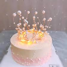 Princess Shiny Handmade Pearl Crown Headdress Cake Topper Wedding
