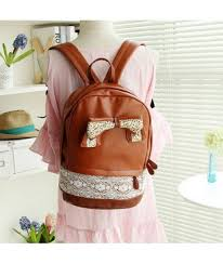 bag brown bow fashion style kawaii cute girly faux leather back to school backpack it girl