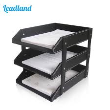desk office file document paper. 3 Layers PU Leather Desk A4 Document File-Tray Rack File Shelf Frame Paper Organizer Office T