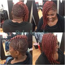 Fatima African Hair Braiding And Design Side Braids With Marley Twist Natural Hair Styles Twist