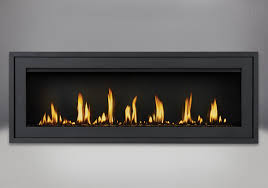 finishing trim shown on flush frame in powder coat black shown with black glass beads mirro flame porcelain reflective radiant panels