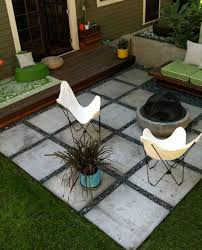 A neat rectangular pattern might better define your patio