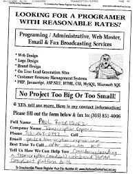 fax broadcast s leads fax sample ads fax advertisements looking for a programmer or web designer at a reasonable rate