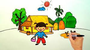 Vẽ Tranh Chủ đề gia đình - Bé trông nhà - Dạy vẽ ngôi nhà của em