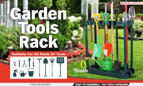 rolling garden tools storage rack long