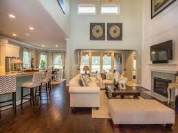 Open Stone Fireplace Contemporary Great Room With Loveseat Crown Molding Zillow