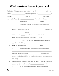 Lease agreement and rental agreement forms are among the most popular legal forms for rentals. Week To Week Weekly Lease Agreement Template Eforms