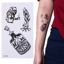 Men Waterproof Death Skull Tattoo Sticker Fashion Temporary Tattoo Body Arm Leg Women Fake Flash Tatoo Sticker Sleeves