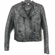 details about h m divided women size 6 black leather motorcycle asymmetrical zip jacket coat