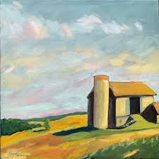 old barn rural landscape contemporary oil painting