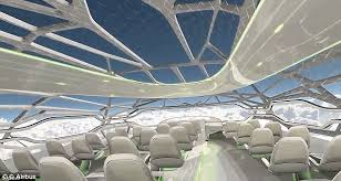 this is what travel will look like in and daily plane manufacturer airbus believes that planes in 2050 will be made of panoramic windows