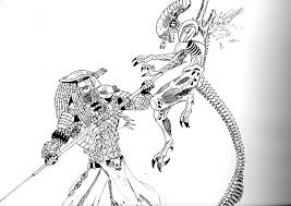 Small Picture Alien vs Predator Coloring Pages sorry about the quality but its