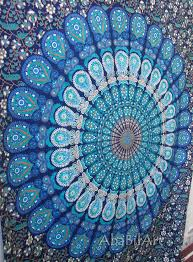 details about twin blue indian mandala tapestry hippie wall hanging bohemian bedspread decor