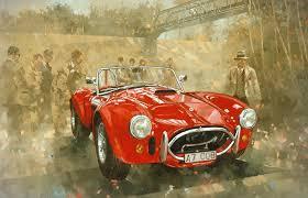 racecar painting cobra at brooklands by peter miller