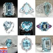 <b>925 Sterling</b> Silver Aquamarine Gemstone Ring <b>Fashion Women</b> ...