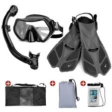 Odoland Snorkel Set 6 In 1 Snorkeling Packages Diving Mask With Splash Guard Snorkel And Adjustable Swim Fins And Lightweight Mesh Bag And Waterproof