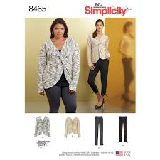 Simplicity Pattern Cool Simplicity Pattern 48 Misses' Knit Twist Tops with Pants