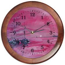 Часы круглые из дерева розовый закат #1327446 от rikart