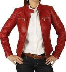 las red leather biker jacket with quilting detail sl118013