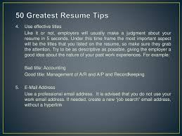 Important Resume Tips 50 Greatest Resume Tips Student Job Centre Ppt Download