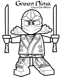 Small Picture Lego Ninjago Green Ninja Coloring Page With Coloring Pages esonme