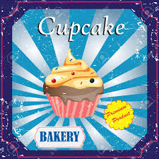 Cupcake Poster Design Cupcakes Poster Design On Blue Background Vector Poster