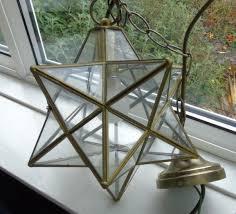 Vintage Brass Framed Glass Star Pendant Light Shade Wired