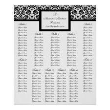Damask Wedding Table Seating Arrangement Chart