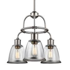 feiss hobson satin nickel three light 22 inch wide chandelier with clear seeded glass