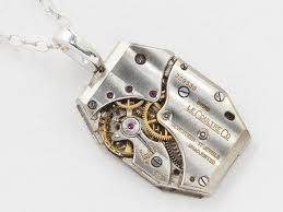 steampunk necklace jaeger lecoultre watch movement with silver chain industrial pendant statement necklace mens jewelry